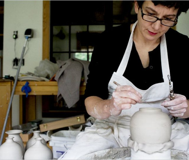 Works Of Hand And Heart Ms Palmer Trims A Vase In Her Studio Which Dates From  Credit Christopher Capozziello For The New York Times