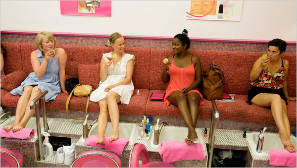 At Dashing Diva A Nail Patrons Enjoy Free Tails While Awaiting Pedicures Credit Elizabeth Lippman For The New York Times