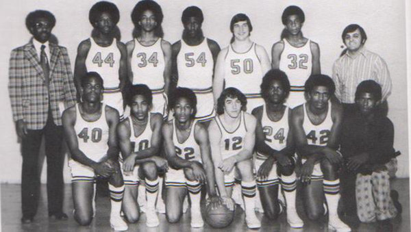 Mike Woodson, second from left in back row above, next to Coach Bill Smith in the 1975-76 Broad Ripple high team picture.