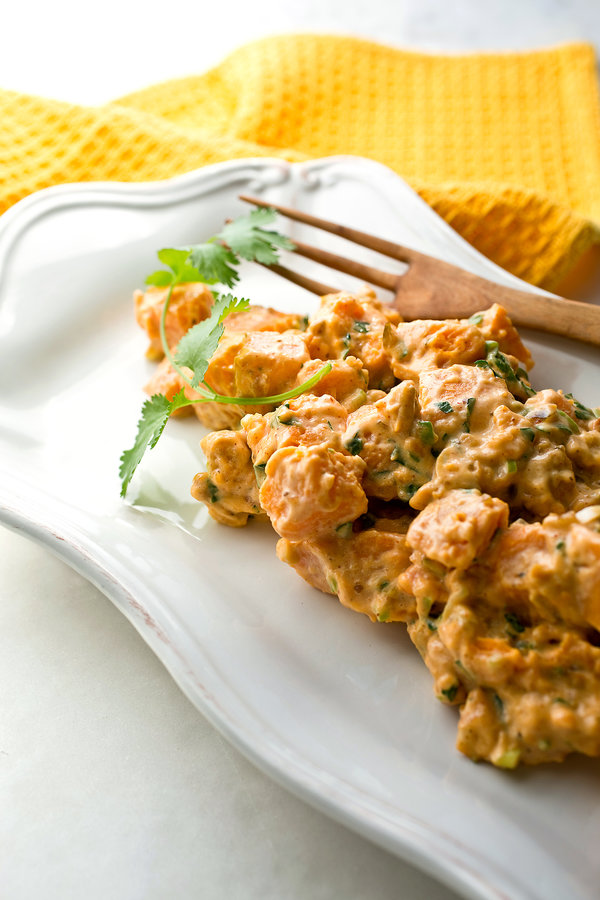 Sweet potato salad with lime pickle and cashews.