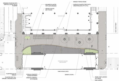 """Plan of the plaza pinpoints features like a """"rain garden,"""" at right, that will collect runoff water; three honey locusts, shown in outline; and the curving edges of the terraces. In this view, Park Avenue is horizontal, with East 41st Street on the left and East 42nd Street on the right. The large enclosed white space at bottom is the Pershing Square restaurant."""