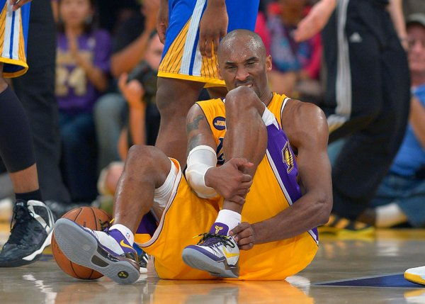 Kobe Bryant ruptured his left Achilles' tendon during the Lakers' 118-116 victory over the Warriors on Friday night. He is expected to miss six to nine months.