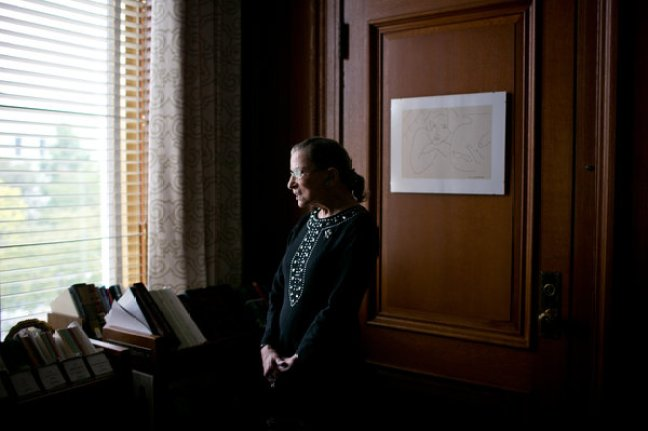 """Justice Ruth Bader Ginsburg in 2013 in her chambers. She once said that her years as the solitary female justice were """"the worst times."""""""