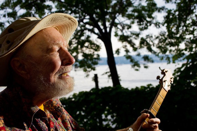 Pete Seeger at the Beacon Sloop Club in Beacon, N.Y., in 2010. Andrew Sullivan for The New York Times