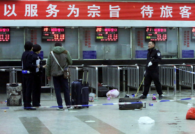 The train station in Kunming, China, where 31 people died in a knife attack last year. A provincial court said on Tuesday that three men were executed for carrying out the attack. Credit Agence France-Presse — Getty Images