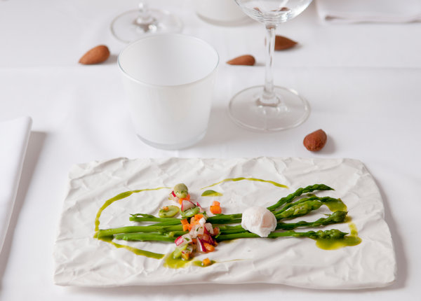 An asparagus dish at the restaurant Ca Na Toneta in Caimari.