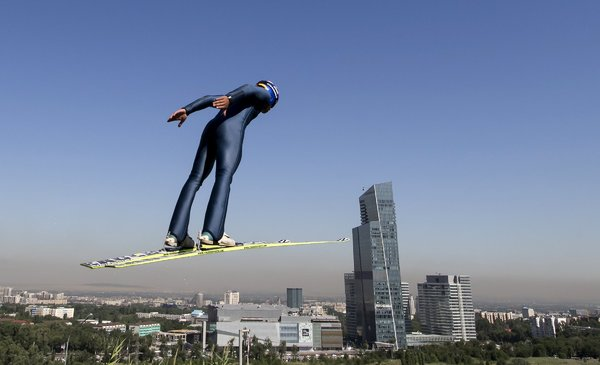 A skier at theSunkar Ski Jumping Complex in Almaty, Kazakhstan. CreditShamil Zhumatov/Reuters