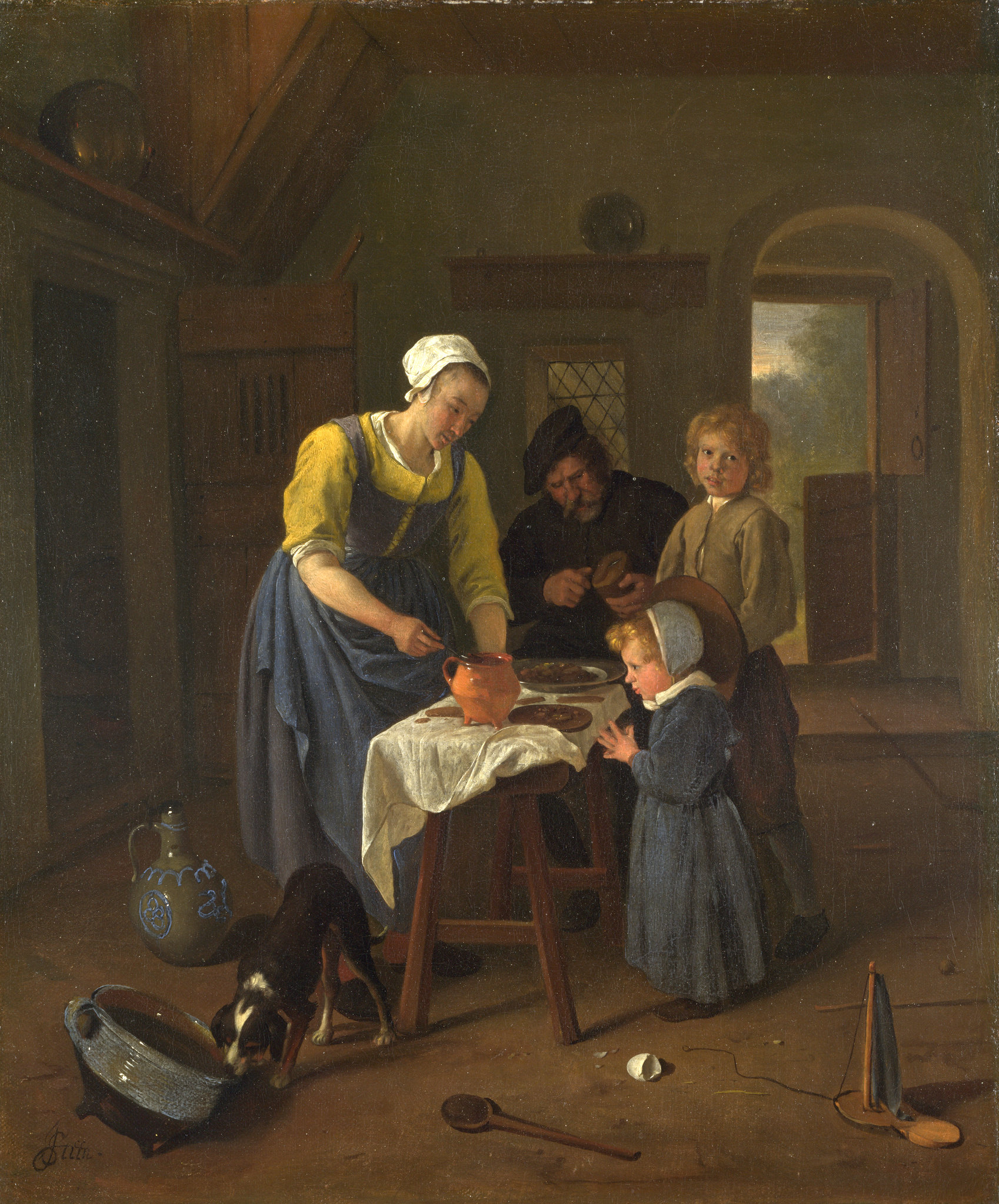 """Peasant Family at Mealtime ('Grace Before Meat'),"""" by Jan"""