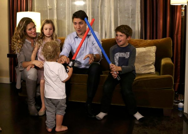 Justin Trudeau and his wife, Sophie Grégoire, played with their daughter Ella-Grace and sons Xavier, right, and Hadrien on Monday in Montreal. Credit Chris Wattie/Reuters