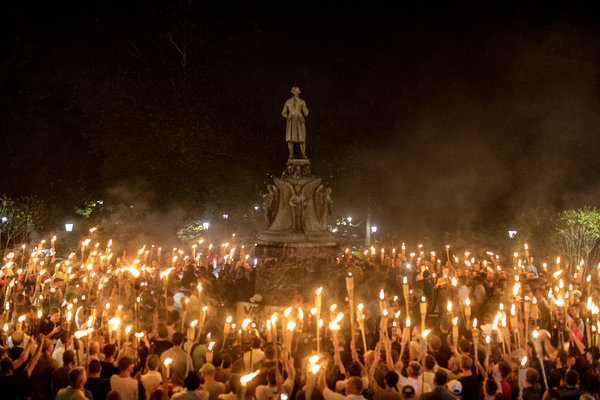 White nationalists marched on the grounds of the University of Virginia on Friday night in Charlottesville.