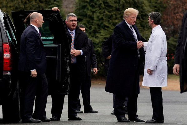 President Trump with Dr. Ronny Jackson after Mr. Trump's physical exam at Walter Reed National Military Medical Center in Bethesda, Md.