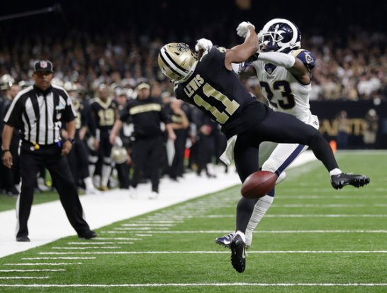 Nickell Robey-Coleman of the Rams clobbered Saints receiver Tommylee Lewis before the ball arrived on a crucial fourth-quarter play on Sunday, but no penalty was called.