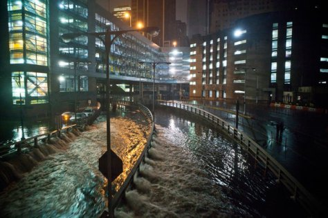 The flooded roadway into the Brooklyn Battery Tunnel in Manhattan after Hurricane Sandy.