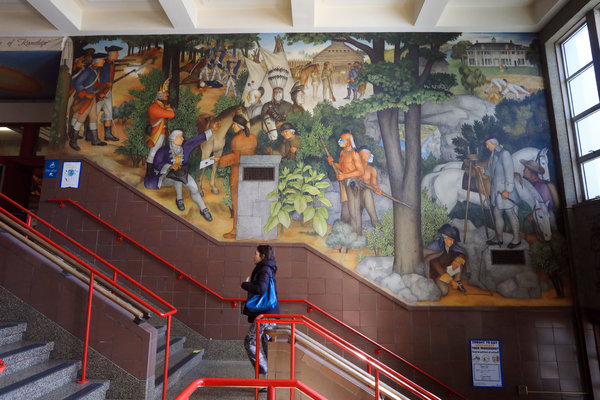 "One of the 13 murals that make up ""The Life of Washington"" at George Washington High School in San Francisco."