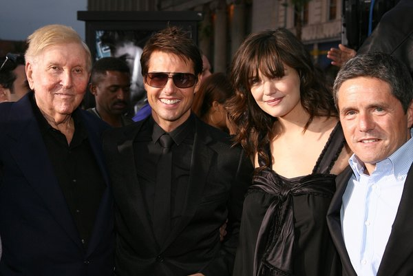 Mr. Redstone in May 2006 with Tom Cruise, Katie Holmes and Brad Grey, the Paramount Pictures chief executive at the time, before the studio parted ways with its biggest star.