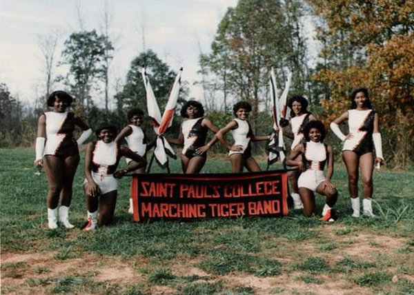 Sonya Perdue Bolton, far left, who was in the marching band at Saint Paul's College, in 1983.
