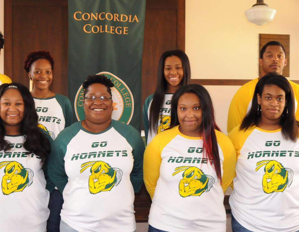 Marla Moore, front and second from left, with the Concordia College Honda All-Star Challenge Quiz Bowl Team.