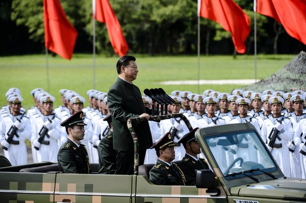 In 2017, President Xi Jinping of China inspected troops from the People's Liberation Army garrison in Hong Kong.