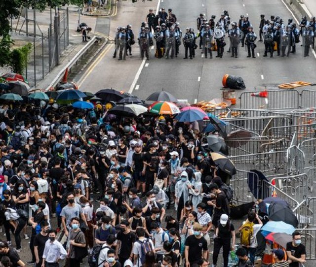 Image Demonstrators Near The Hong Kong Governments Headquarters