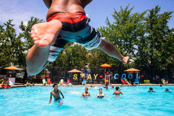 Cesar Soto, 15, at a public pool on Manhattan's Lower East Side neighborhood on Friday.