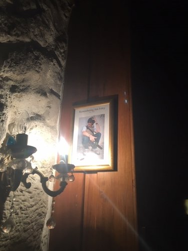 A photograph of James Foley, the journalist beheaded by the Islamic State, in a corner of the Liwan cafe's bar.