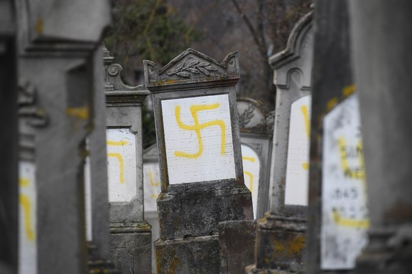 Graves vandalized with swastikas at a Jewish cemetery in Quatzenheim, France, in February. Anti-Semitism has increased in Europe but any link to B.D.S. is unclear.