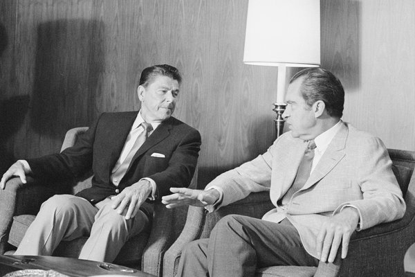 Ronald Reagan, the governor of California at the time, with President Richard M. Nixon in August 1971. A phone call between the two that included racist comments would happen later that year.