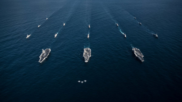 American and South Korean forces conducting an exercise in the Western Pacific in 2017.