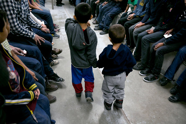 Brothers, ages 4 and 3, from El Salvador at a Border Patrol station in Brownsville, Tex., in 2014.
