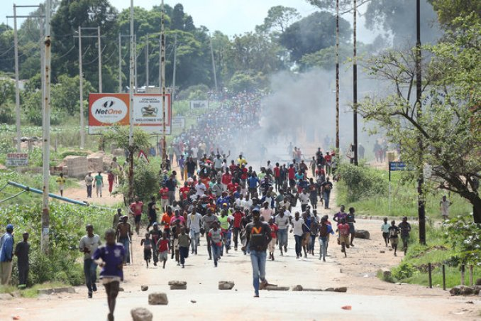 Demonstrators filled the streets of Harare in January to protest the deteriorating economy.