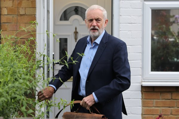 Labour party leader Jeremy Corbyn leaving his home in north London on Thursday. He holds the cards on whether and when to call a new election.