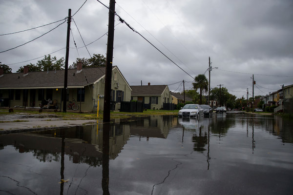Flooding in Charleston, S.C., on Wednesday, as the storm approached.