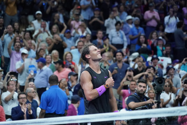 Rafael Nadal celebrating his victory over Daniil Medvedev at the United States Open final on Sunday night.
