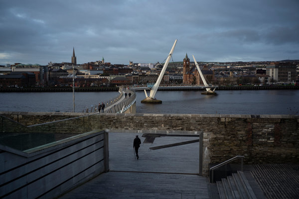 The Peace Bridge, which crosses the River Foyle in Londonderry, Northern Ireland. The bridge was opened in 2011 with funding from the European Union.