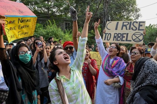 A group protesting in Lahore, Pakistan.