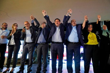 Ayman Odeh, center, with other candidates from the Arab Joint List, an alliance of predominantly Arab parties.