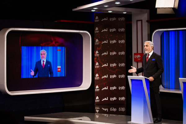 Abdullah Abudullah, Mr. Ghani's opponent, during a debate at a local television studio in Kabul on Wednesday.
