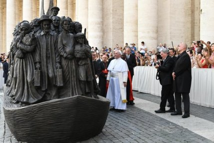 "Pope Francis unveiled ""Angels Unaware,"" a sculpture by the Canadian artist Timothy Schmalz representing displaced people throughout history, on Sunday in St. Peter's Square."