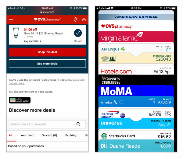"""You can add coupons, boarding passes, tickets and other cards to your device by tapping the """"add to wallet"""" button included in confirmation or receipt messages."""