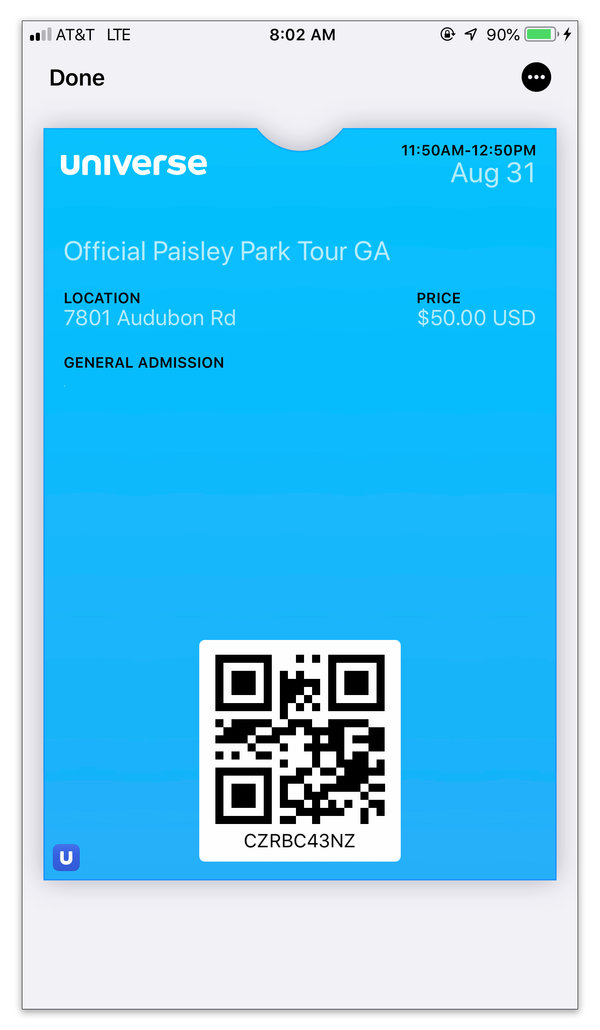 When you need to present your electronic ticket or pass, open your digital wallet app and tap the appropriate card.