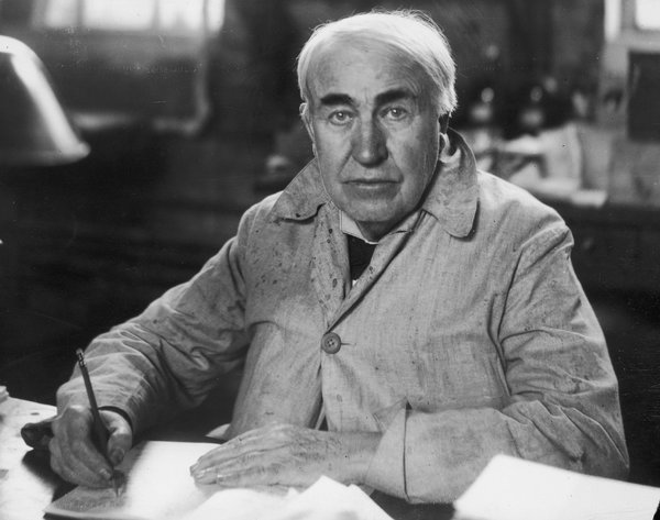 Edison, circa 1920, in his West Orange laboratory, where, he claimed, anything could be built.