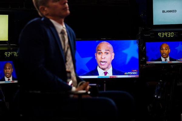 Senator Cory Booker on screen during the Democratic presidential debate in Atlanta.