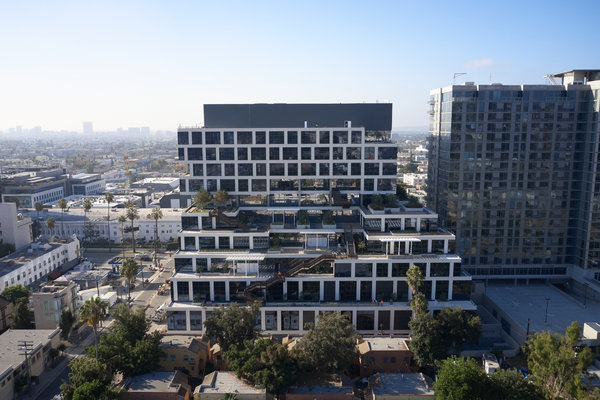 The Epic, a giant new building in Hollywood that will be occupied by Netflix, is outfitted with solar panels.