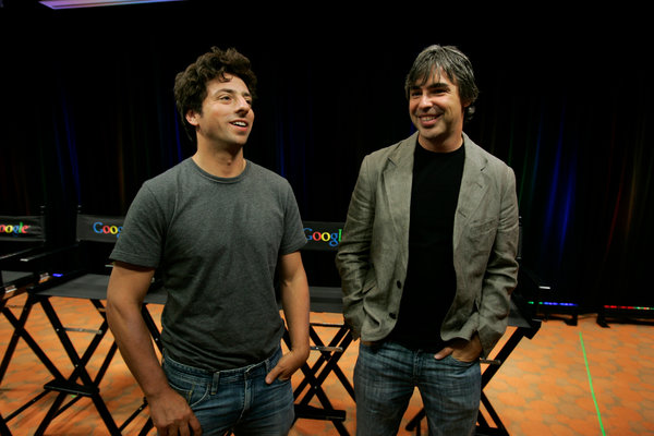 Sergey Brin, left, and Larry Page discussing Google's new Chrome browser in 2008.