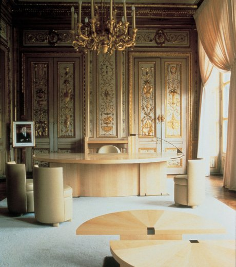 The office Andrée Putman designed for French Minister of Culture Jack Lang at the Palais-Royal in Paris, photographed in 1984.