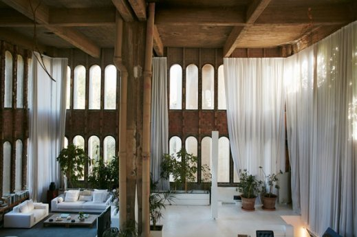 The living room at Ricardo Bofill's La Fábrica in Sant Just Desvern, Spain, photographed in 2017.