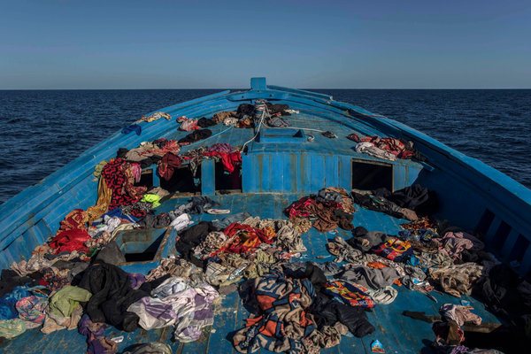A wooden boat used by mostly Eritrean migrants, abandoned off the Libyan coast after they were rescued in 2018.