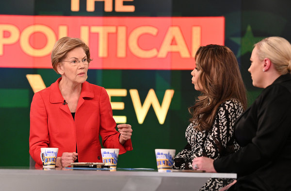 "Senator Elizabeth Warren with Sunny Hostin, center, and Meghan McCain on ""The View."""