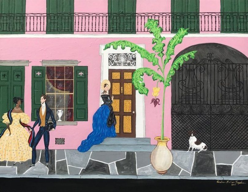 Painting of a pink house with green shutters and figures in the foreground