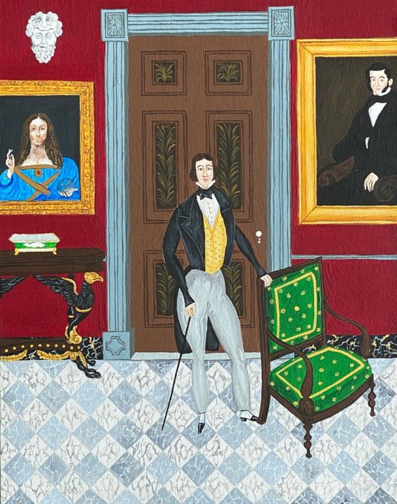 painting of a man in a house with red walls, a brown door and a green chair